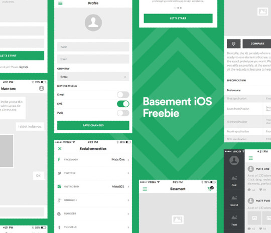 Basement iOS Wireframe Kit Free