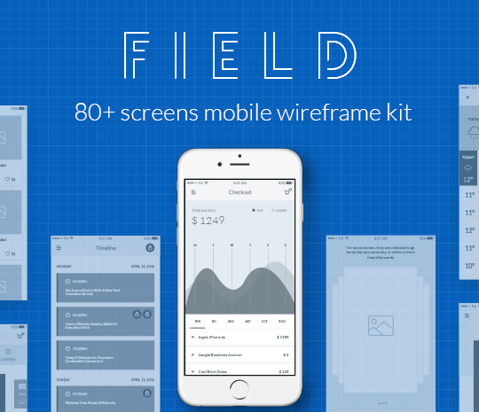 Field Mobile Wireframe Kit