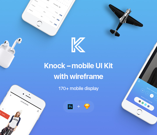 Knock – Mobile UI Kit with Wireframe