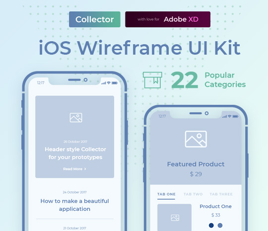 Collector iOS Wireframe UI Kit